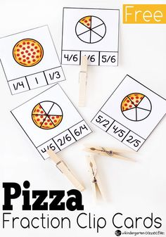 Teaching İdeas 157977899413978325 - Work on fractions in a fun way with these free pizza fraction clip cards! Practice halves, fourths, fifths, and sixths. Just print and add clothespins! Source by tocayenne Fraction Games, Fraction Activities, Math Activities For Kids, Math For Kids, Fun Math, Math Resources, Math Games, Play Activity, Pizza Fractions