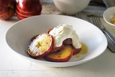 Caramelised apples with ginger cream. #fall #Thanksgiving #desserts