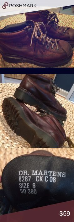 EUC 👌🏼Dr Martens 8287 An extra-padded collar on this hiker angles down around the back of the foot for extra comfort. The 3-tunnel loops make for a fast and secure lace up. Leather upper/synthetic lining/PVC sole. Dr. Martens Shoes Combat & Moto Boots