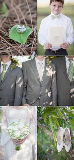white, green & gray; white flowers; green tie; gray suits; bow tie for little boy