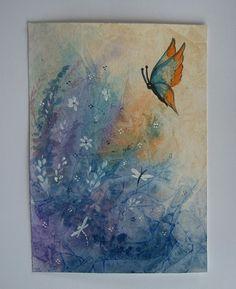 fantasy art painting watercolour butterfly garden ref 379 £10.00