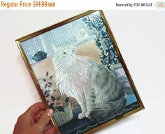 ON SALE Framed Foil Cat Picture: Cat Near a Window by MyPalPeppy