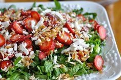 Strawberry basil salad with white balsamic vinaigrette