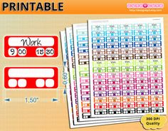 Work Printable planner stickers Small boxes Good habits colors for Erin condren - Happy planner - Filofax - Organizing stickers