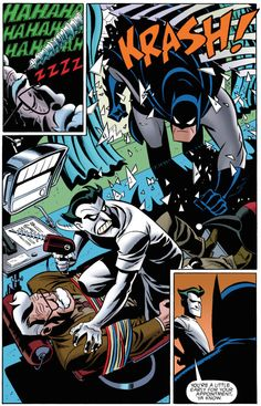 Jim Gordon, Batman & Doctor J, The Batman Adventures: Mad Love Art by Bruce Timm Words by Paul Dini Comic Book Pages, Comic Page, Comic Books Art, Dc Comics, Batman Comics, Bruce Timm, Joker Dc, Joker And Harley Quinn, The Dark Knight Rises