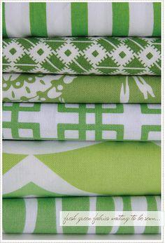 Fresh green fabrics.