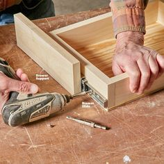 How to Build an Under-Cabinet Drawer (DIY) | Family Handyman Diy Kitchen Cabinets, Kitchen Cabinet Organization, Kitchen Redo, Wood Cabinets, Kitchen Ideas, Kitchen Updates, Cabinet Ideas, Custom Cabinets, Kitchen Shelves