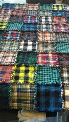 Plaid flannel rag quilt
