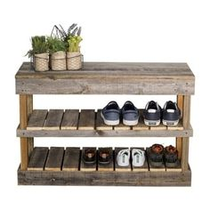 Muebles con palet del Hutson Designs Reclaimed Barnwood Natural Shoe Rack Bench - The Home D Wood Shoe Rack, Shoe Rack Bench, Shoe Storage Rack, Diy Shoe Rack, Bench With Shoe Storage, Outdoor Shoe Storage, Shoe Racks, Rustic Shoe Rack, Shoe Rack Out Of Pallets