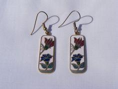 Vintage Rectangular Cloisonne Enamel Flower Earrings, SOLD