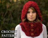 Hooded Cowl Wood Button Crochet hooded scarf Olive by WellRavelled