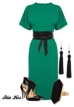 green dress by ria-kos on Polyvore featuring Warehouse, Christian Louboutin, Kenneth Jay Lane, Jaeger and IRO