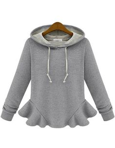 Grey Hooded Long Sleeve Ruffle Sweatshirt - Sheinside.com