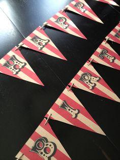 Circus Happy Birthday Banner-Vintage Circus-Birthday Decoration,Photo Prop, Wedding, Baby Shower, Party. $25.00, via Etsy.