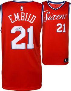 4d60a93cd Joel Embiid 76ers Autographed Red Statement Nike Swingman Jersey - Fanatics   sportsmemorabilia  autograph  basketballjersey