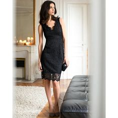 Image Straight V-Necked Dress with Lace Trim LAURA CLEMENT