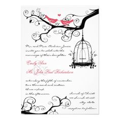 Vintage Birds Honeysuckle Pink Wedding Invite  Click on photo to purchase. Check out all current coupon offers and save! http://www.zazzle.com/coupons?rf=238785193994622463&tc=pin