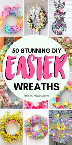 Celebrate Easter by adding some spring and Easter decor to your home with one of these easy DIY Easter Wreaths. Your front door never looked so nice! Easter Wreaths Diy, Diy Spring Wreath, Diy Easter Decorations, Diy Wreath, Holiday Wreaths, Spring Crafts, Door Wreaths, Easter Projects, Easter Ideas
