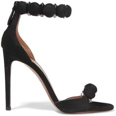Alaïa Studded suede sandals (2.345 BRL) ❤ liked on Polyvore featuring shoes, sandals, heels, sapato, alaia, black, strap sandals, high heeled footwear, black strap sandals and high heel shoes
