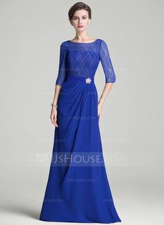 da4a0eac34e A-Line Princess Scoop Neck Floor-Length Ruffle Crystal Brooch Zipper Up  Sleeves Sleeves No 2016 Royal Blue Spring Summer Fall General Plus Chiffon  Lace ...