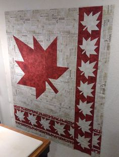 Testing my Canada quilt plan Small Quilt Projects, Quilting Projects, Quilting Designs, Sewing Projects, Quilting Tips, Sewing Ideas, Flag Quilt, Quilt Blocks, Patriotic Quilts