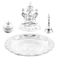 Jpearls Special Silver Thali Hamper | Pure Silver Laxmi Idol, Silver Bell and KumKum Dabi