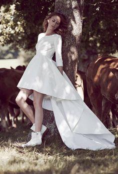 """Florent"" short wedding dress with train, $2,774, Delphine Manivet"
