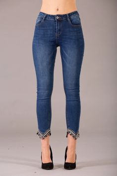 Lucy Mid Waist Stretch jeans With Embroidery Details on the Hems – Lusty Chic Blue Skinny Jeans, Blue Jeans, Stretch Jeans, High Waist Jeans, Stretch Fabric, Fitness Models, Embroidery, Legs, Denim
