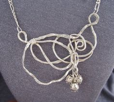 Large Sterling Silver Avant Garde Necklace by FirednWiredJewelry