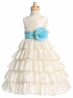 Blossom Ivory Sleeveless Taffeta Bodice Layered Skirt Detachable Sash