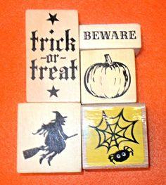 Halloween stamps lot rubber stamp spider witch trick or treat pumpkin Beware  #Unbranded #Halloweenwitchspiderweb