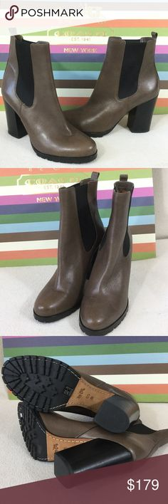 """Coach BRAND NEW taupe leather ankle boots Coach BRAND NEW taupe leather ankle boots with black stretch bands for easy pull on styling. Slight distressing on leather and rugged rubber soles. 4"""" chunky heel. Excellent condition never worn tried on only   Boot measures 9.5"""" tall. Beautiful Neutral color. 816-662 Coach Shoes Ankle Boots & Booties"""