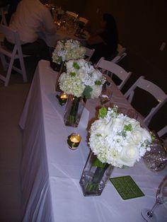 Brides maids boquets white and green