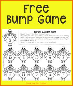 Free Turkey Bump Math Game to practice addition to Perfect for K and Grade Fun Printables For Kids, Thanksgiving Activities, Inspire Others, Blogging For Beginners, Math Games, Math Lessons, Grade 1, Free Games, Bump
