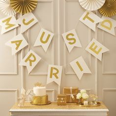 This Gold and Ivory Just Married Bunting makes such a cute decoration for after the ceremony! We love the on-trend typography and foiling! - Metallic Perfection at GingerRay.co.uk