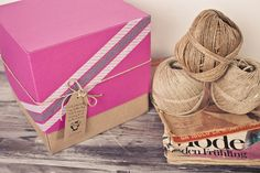 Box with washi tape and craft label
