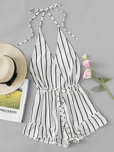 V-neckline Stripe Drawstring Waist Frill Surplice RomperFor Women-romwe