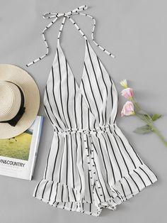 V-neckline Stripe Drawstring Waist Frill Surplice Romper -SheIn(Sheinside)