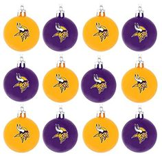 NFL Ball Ornament Set of 12 NFL Team Minnesota Vikings * More info could be found at the image url.