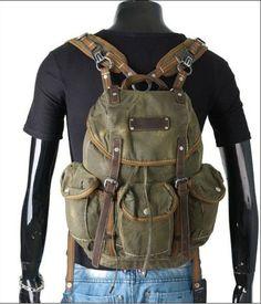Men's Military Vintage Washed Canvas Leather Backpacks Travel Rucksack Satchel K