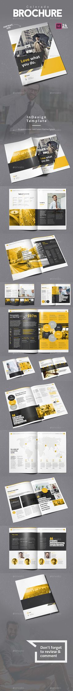 Buy Colorado Brochure by fathurfateh on GraphicRiver. Colorado Brochure – Portrait template is a 24 pages Indesign brochure template available in size. Print ready or e. Brochure Layout, Corporate Brochure, Brochure Design, Print Layout, Layout Design, Print Design, Graphic Design, Magazine Examples, Indesign Brochure Templates