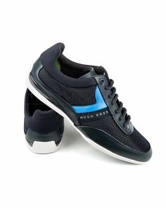 b537e6a88 Zapatos Hugo Boss Space Lowp - Azul Hugo Boos, Hugo Boss Shoes, Male Shoes