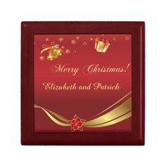 Christmas Gold Red Gift Box