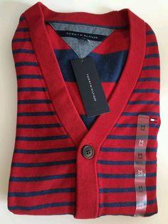 NWT Tommy Hilfiger Men's Medium Long Sleeve Striped Cardigan  #TommyHilfiger…