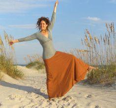 Custom made with your choice of colors.  Long Wanderer Skirt (hemp/organic cotton blend) - organic maxi skirt.