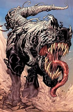 vemon becomes a t.rex <<< this is from Old Man Logan. Dinosaurs from the Savage Land were taken overseas at the time every villain on earth rose up, and eventually the Venom symbiote infected the escaped dinosaurs.