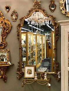 Gold Florentine Italian Mirror With Mirrored Trim $495 Barbara Falk Designs  Antiques   Interior Design