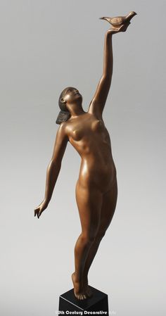 """A stunning Art Deco dark gilt and patinated bronze sculpture by Pierre Le Faguays, France circa entitled """"Message d'amore /Message of Love""""- the stylised nude woman holding up a dove, art deco bronze figure by pierre le faguays entitled message Art Deco Home, Art Deco Era, Art Nouveau, Art Deco Furniture, Small Art, Art Deco Design, Sculpture Art, Bronze Sculpture, Art Deco Fashion"""