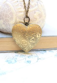 Large Heart Locket Necklace Gold Floral Locket by apocketofposies
