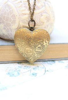 Heart Locket Necklace Gold Floral Locket Pendant Vintage Style Large picture locket